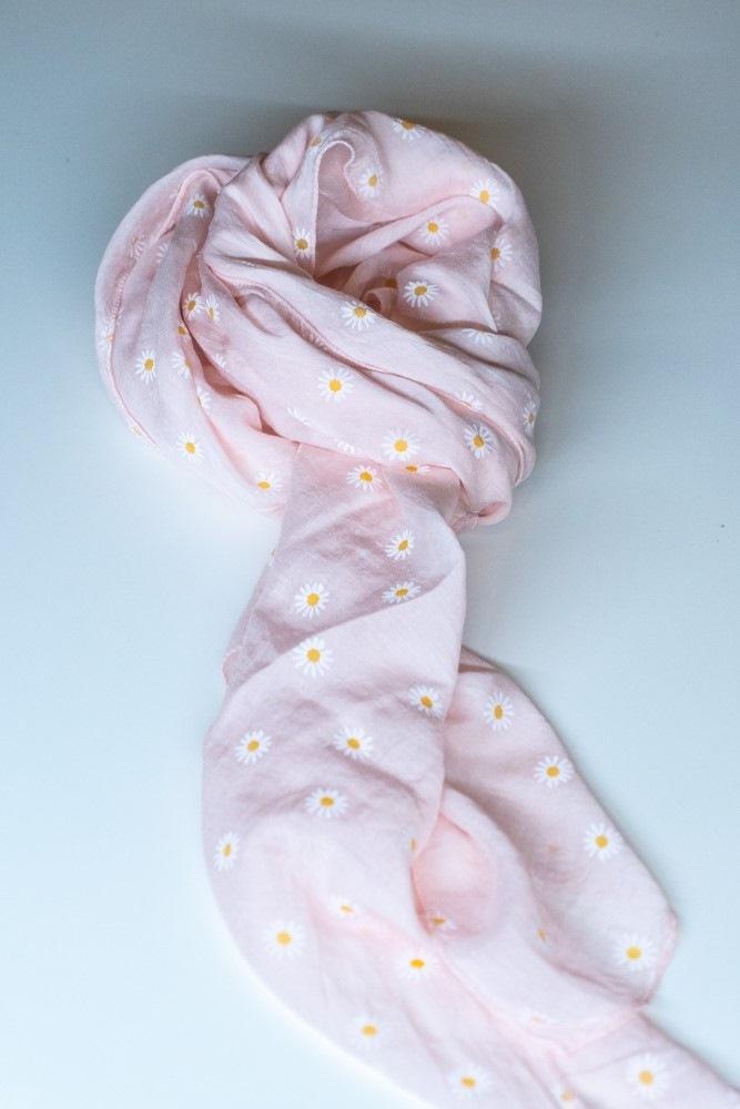 Tørklæde silke/bomuld, Margerit, Rosa
