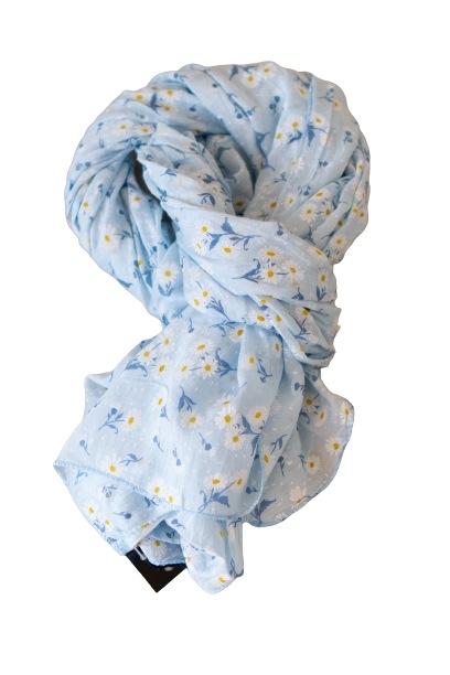 Tørklæde silke/bomuld, Margeritter, Lyseblå