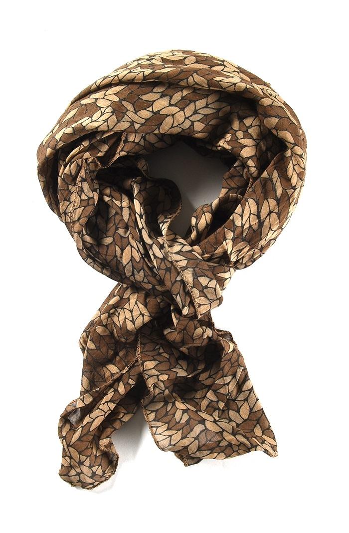 Tørklæde silke/bomuld, Mosaik, Brun
