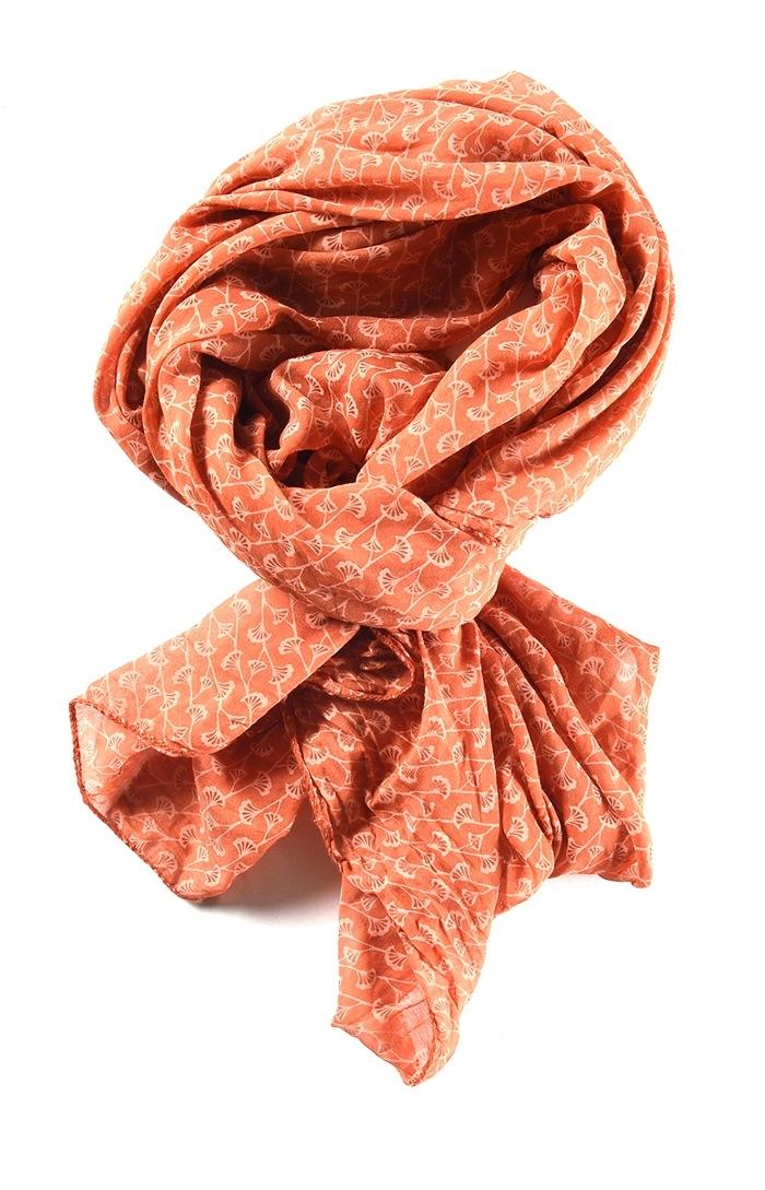 Tørklæde silke/bomuld, Ranker, Brændt Orange