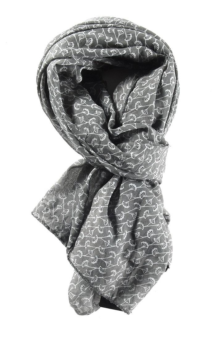 Tørklæde silke/bomuld, Ranker, Grå