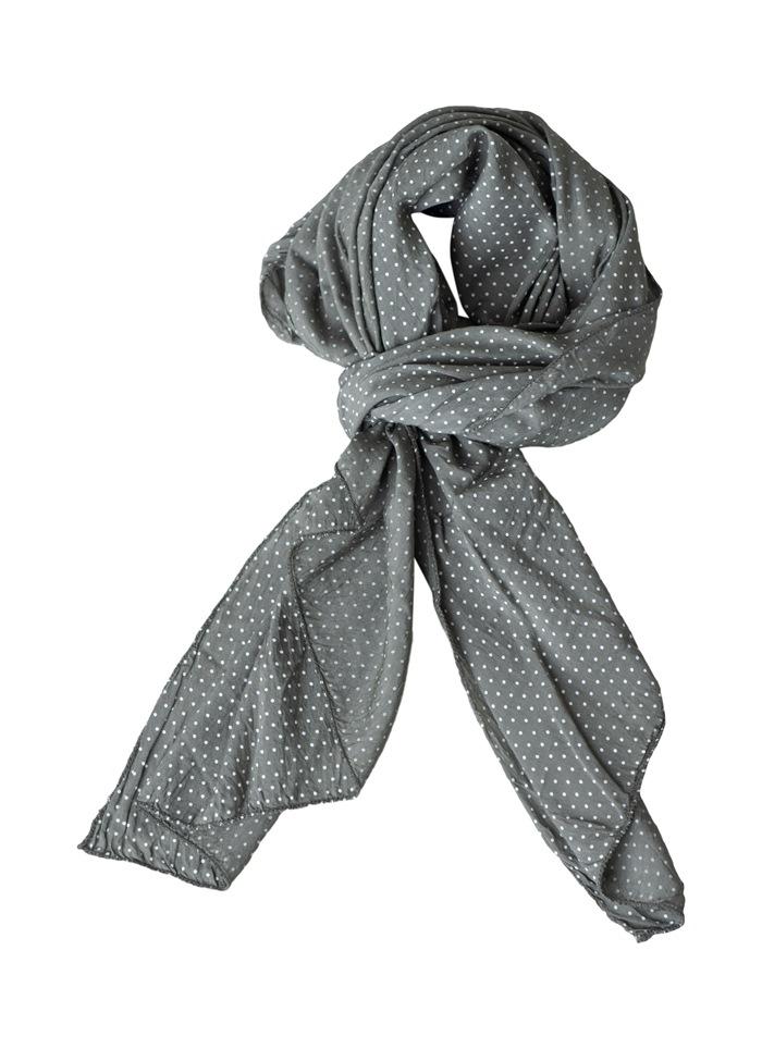 Tørklæde silke/bomuld, Små prikker, Army  (-97)