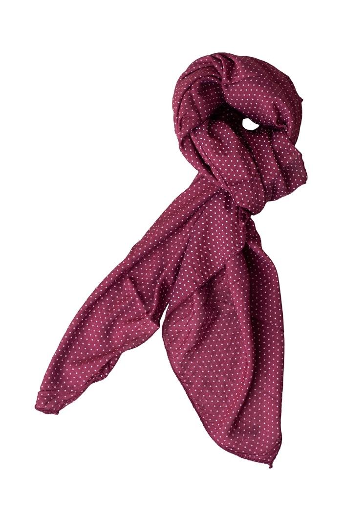 Tørklæde silke/bomuld, Små prikker, Bordeaux (-100)