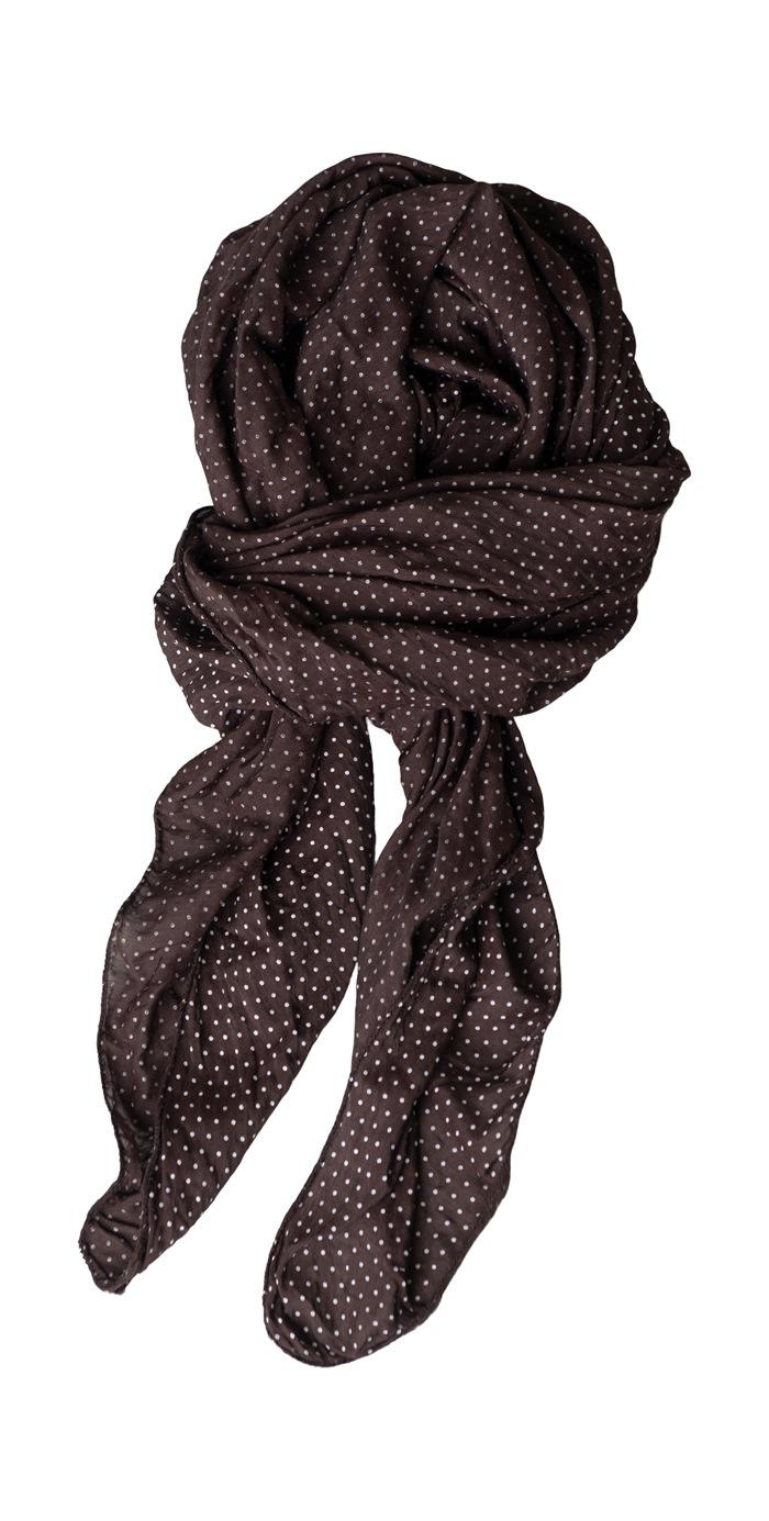 Tørklæde silke/bomuld, Små prikker, Brun