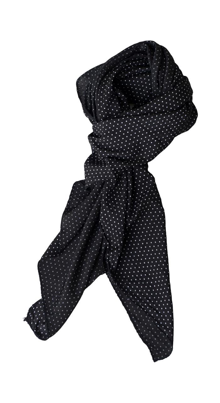 Tørklæde silke/bomuld, Små prikker, Sort (-101)