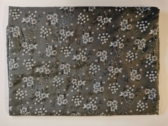 Tørklæde silke/bomuld, Småblomstret, Army (-14)