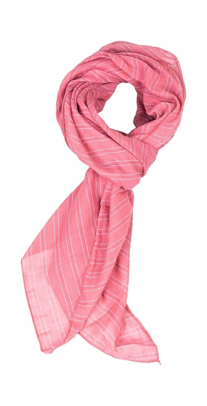 Tørklæde silke/bomuld, Stribet, Rosa