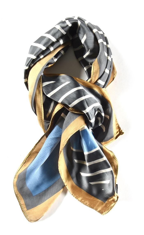 Tørklæde stribet Grå/blå (01003-1)