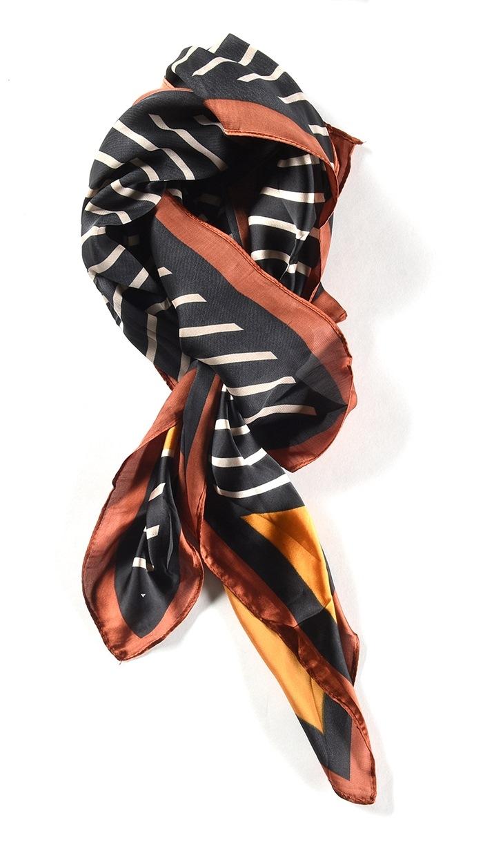 Tørklæde stribet Sort/brun (01003-3)