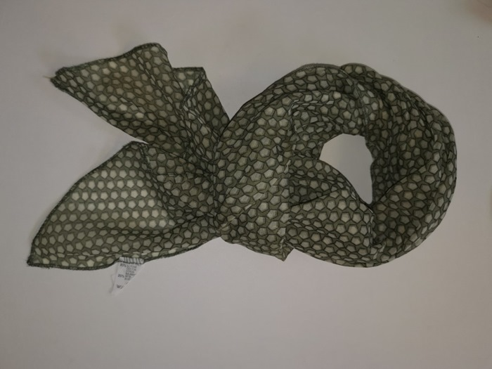 Tørklæder silke/bomuld, 5 kant mønster, Grøn