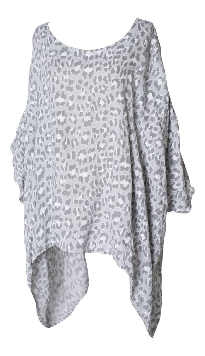 Tunika, grå leopard, one size